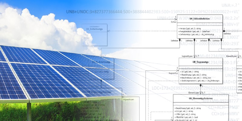 enERP. Solar panel overlayed by an UML class diagramm | AXP Consulting